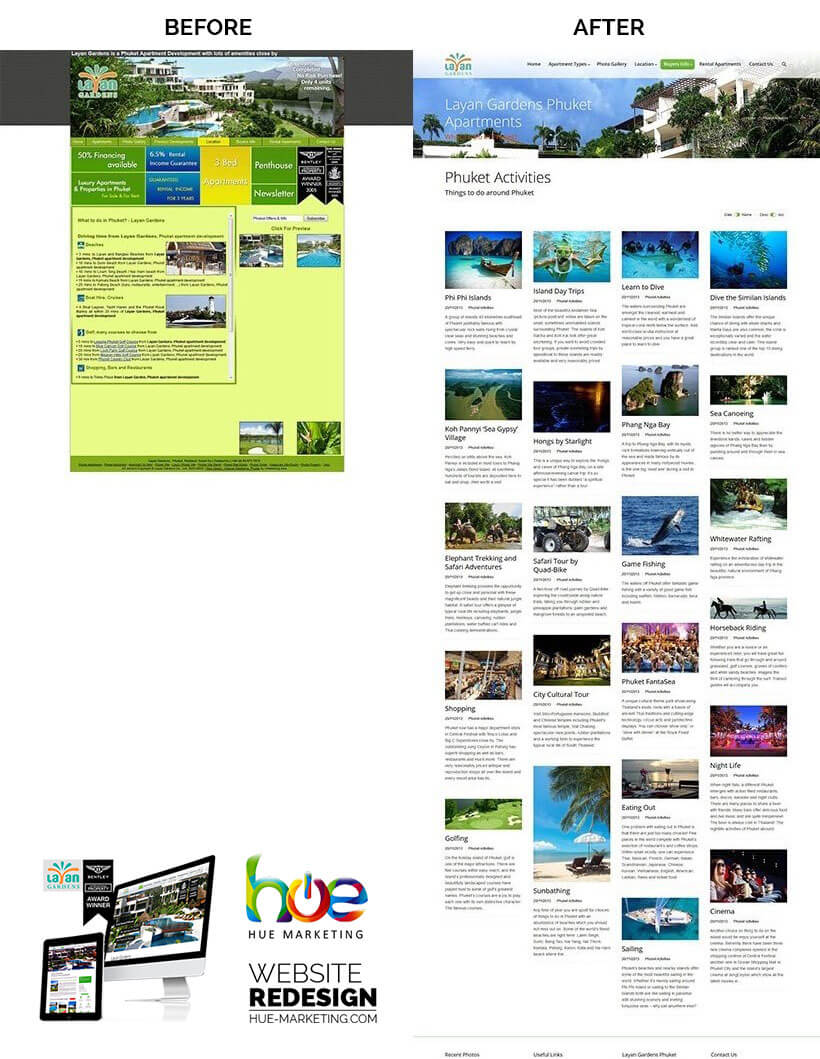 Phuket Website Redesign - Layan Gardens - Local Activities