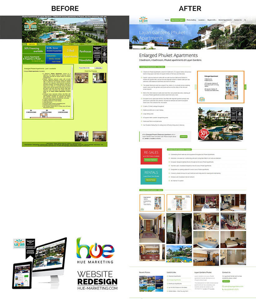 Phuket Website Redesign - Layan Gardens - Apartment Info