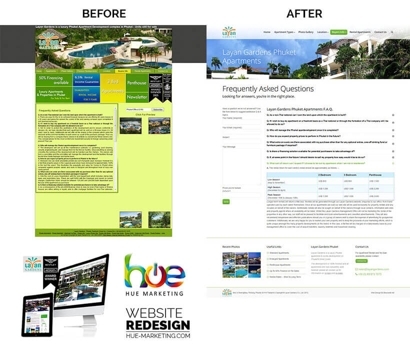 Phuket Website Redesign - Layan Gardens - FAQ section