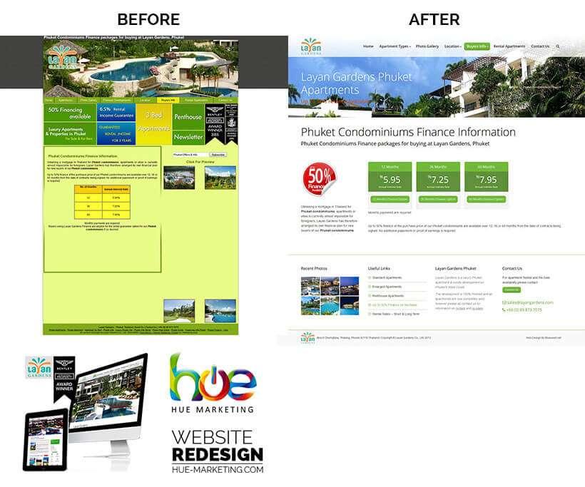 Phuket Website Redesign - Layan Gardens - Finance Options