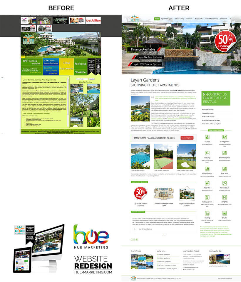 Phuket Website Redesign - Layan Gardens - Home Page