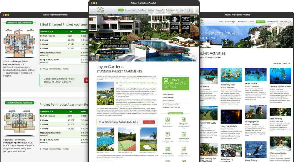 Phuket Web Design for Layan Gardens Phuket