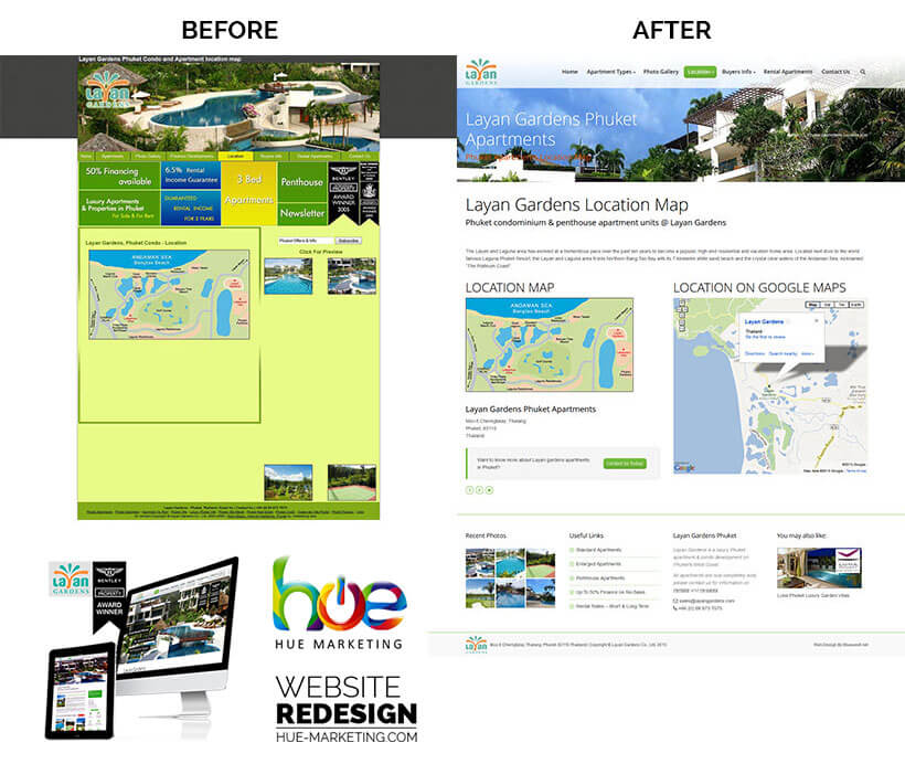 Phuket Website Redesign - Layan Gardens - Location Page