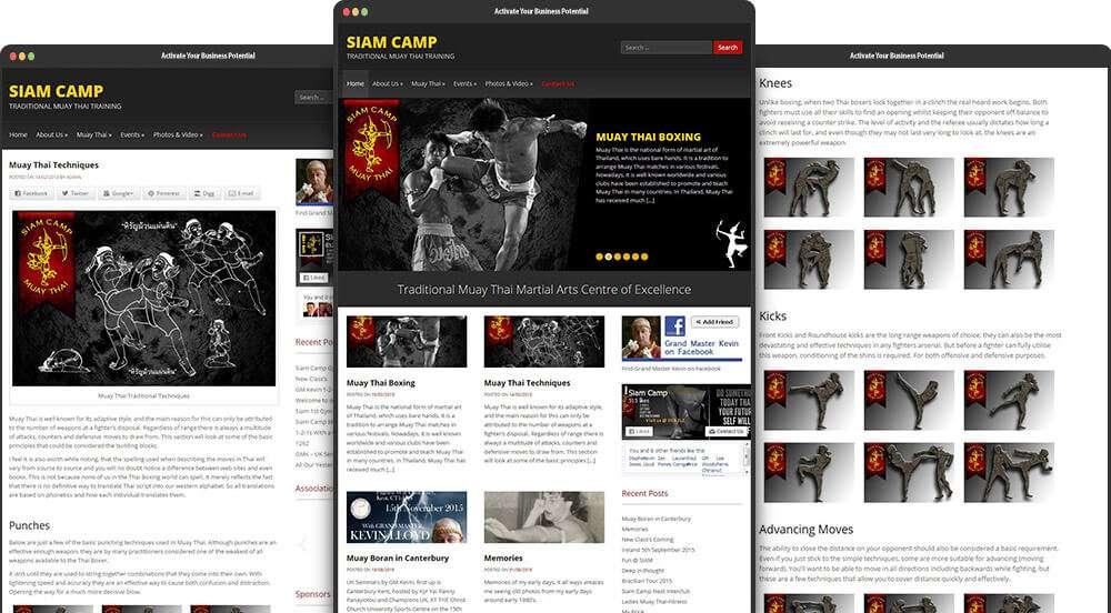 Siam Camp Muay Thai Website Re-Design