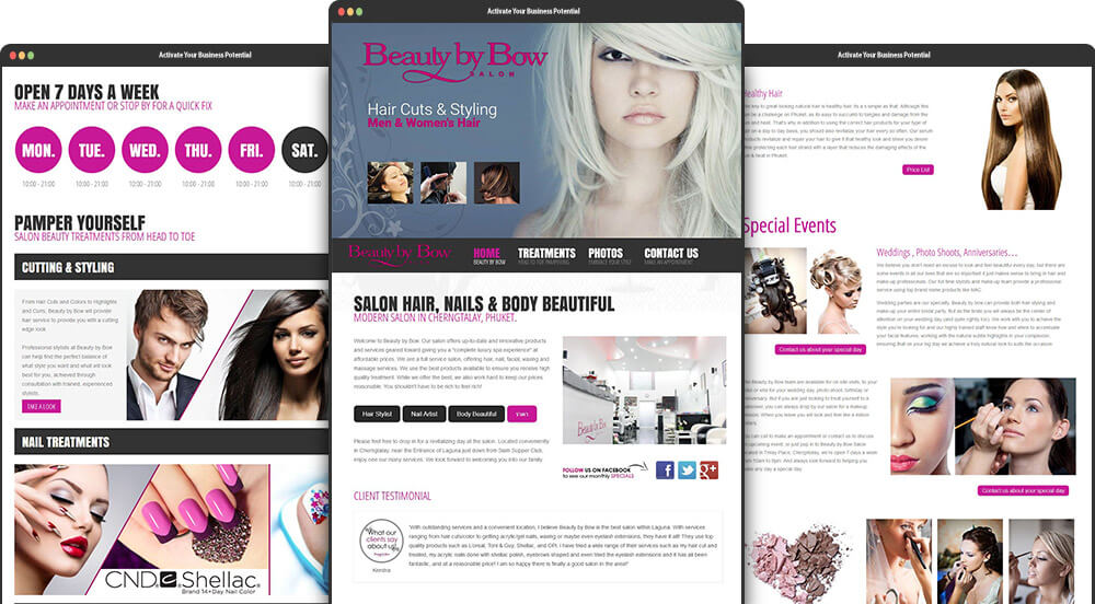 Phuket Web Design for Beauty By Bow Salon Phuket