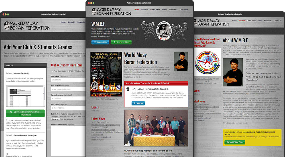 World Muay Boran Federation (WMBF) Website Design