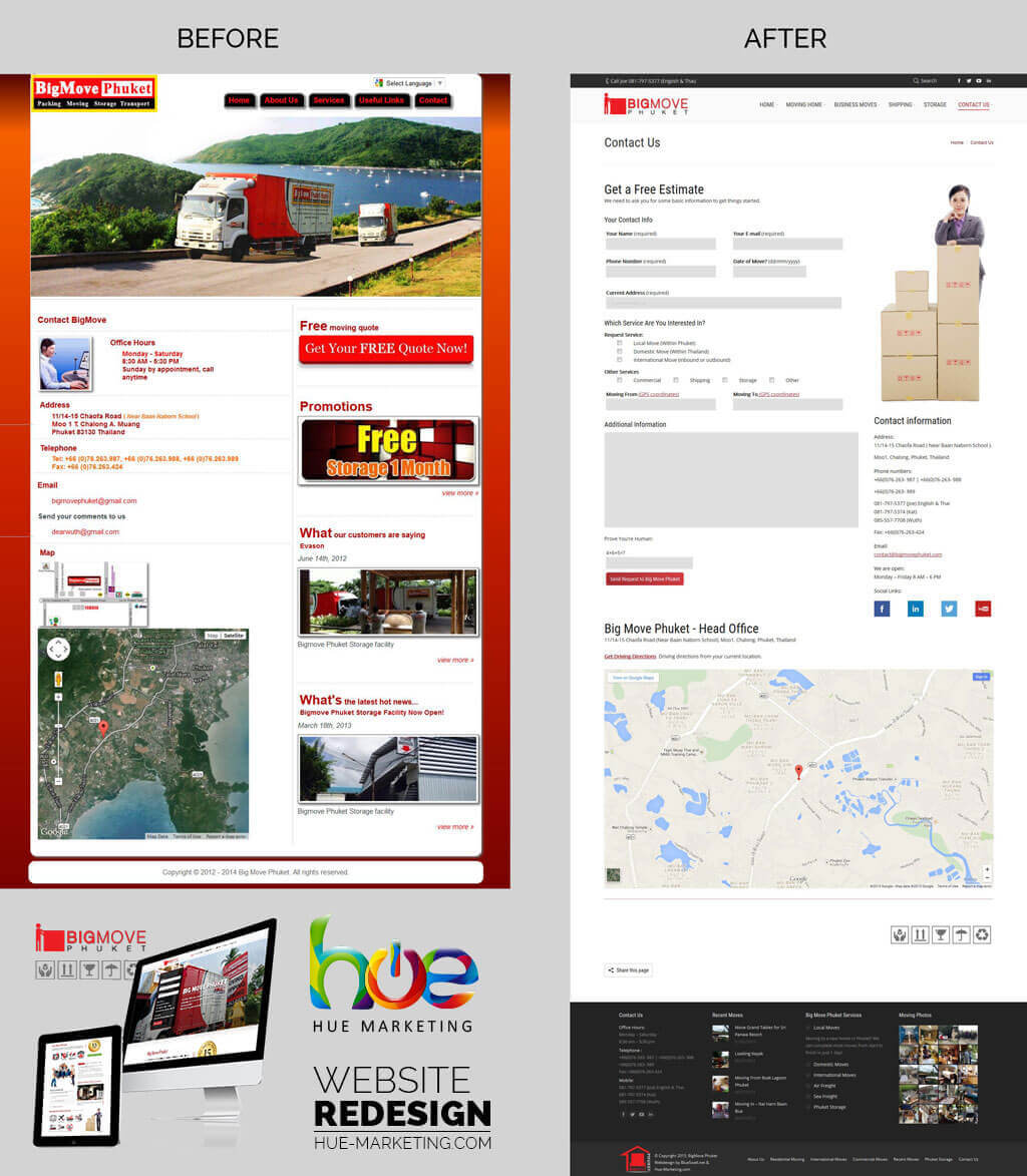 Website Redesign - BigMove Phuket - Contact Page