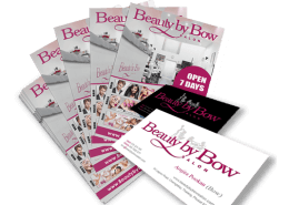 A5 Flyer and Business Cards for Beauty By Bow Salon Phuket by Hue-Marketing