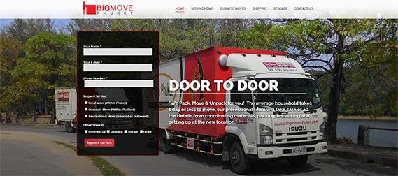 Home Page Sliders with contact form for BigMove Phuket
