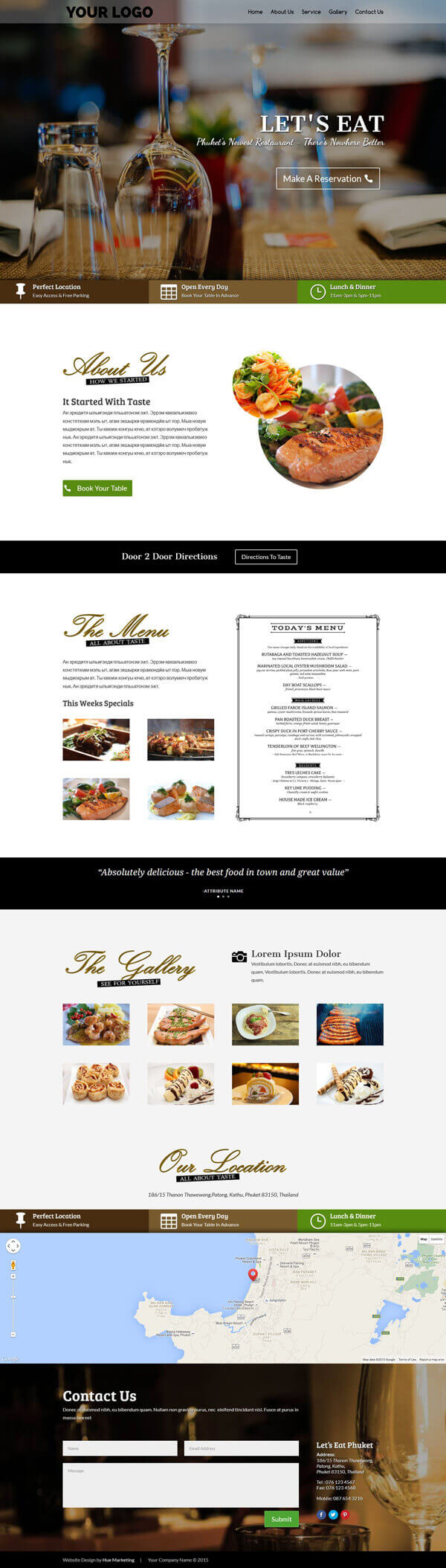 Sample Single Page Layout Entry Level Website