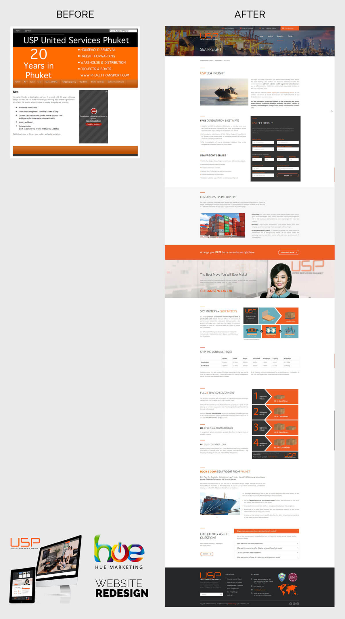 Phuket Website Redesign - Before and After
