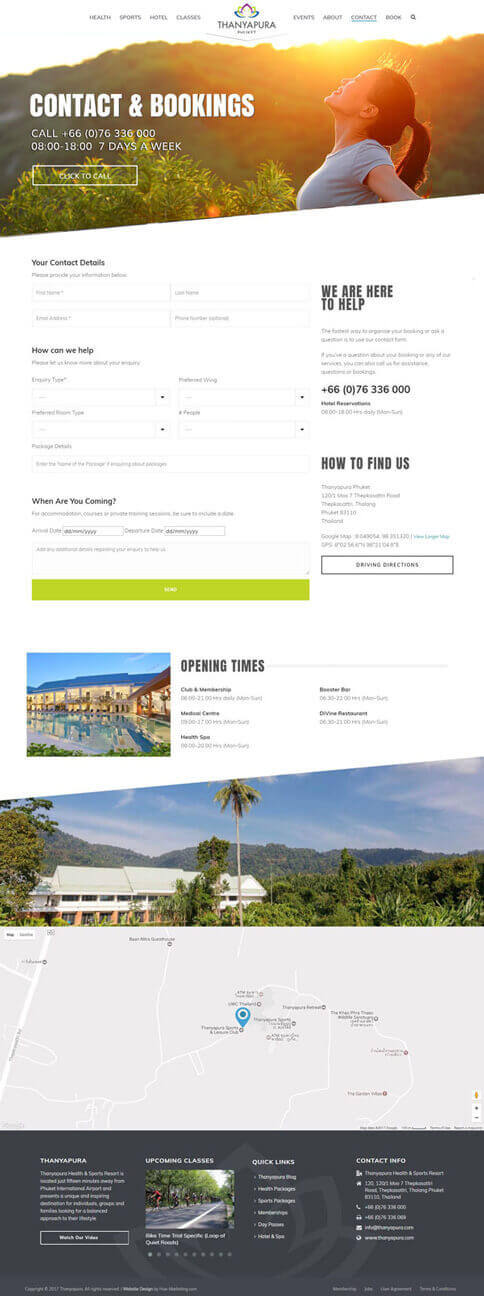 NEW Contact Us page - Thanyapura Phuket Website Redesign