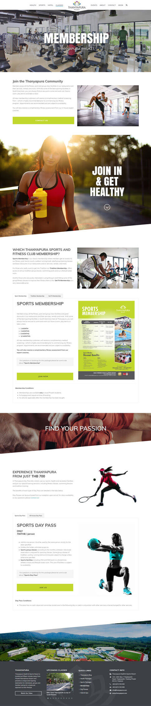 NEW Membership Page - Thanyapura Phuket Website Redesign
