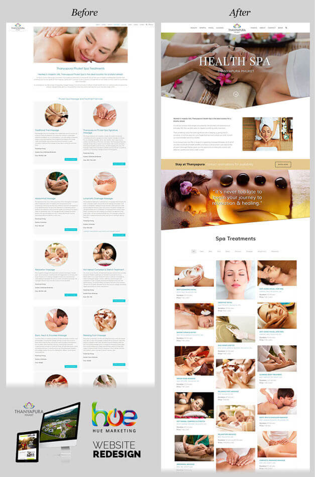 Spa Treatments Thanyapura Phuket Website Redesign