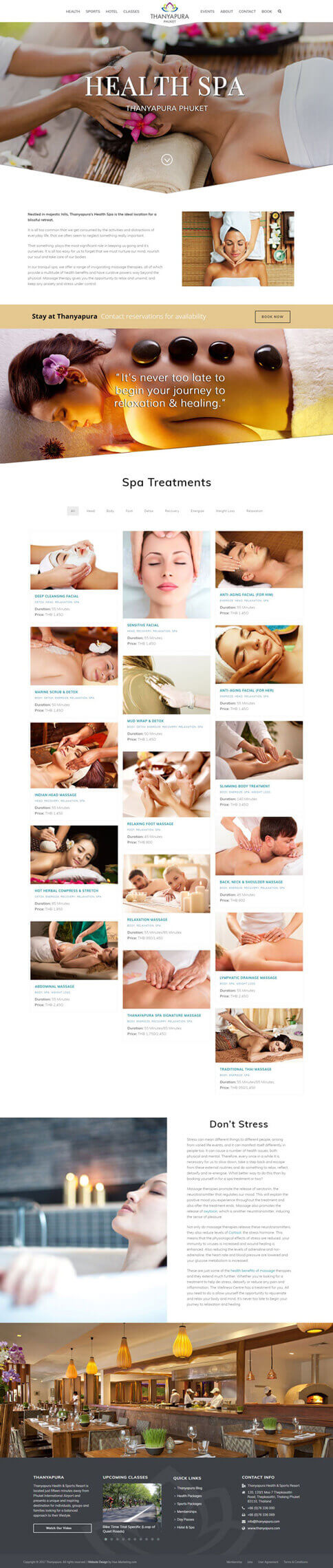 NEW Spa Page - Thanyapura Phuket Website Redesign