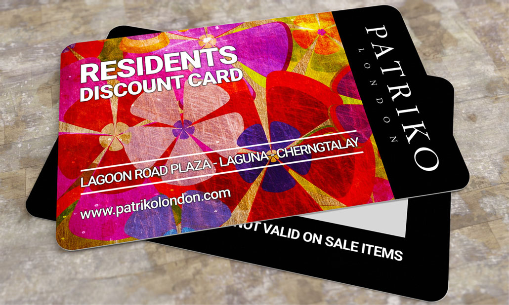 Branded Credit Card Style PVC Discount Cards for Patriko London