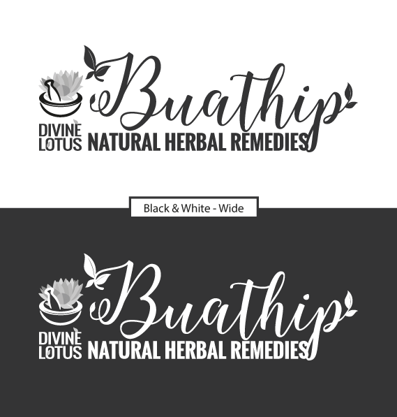 Buathip Wide Logo (Black and White)