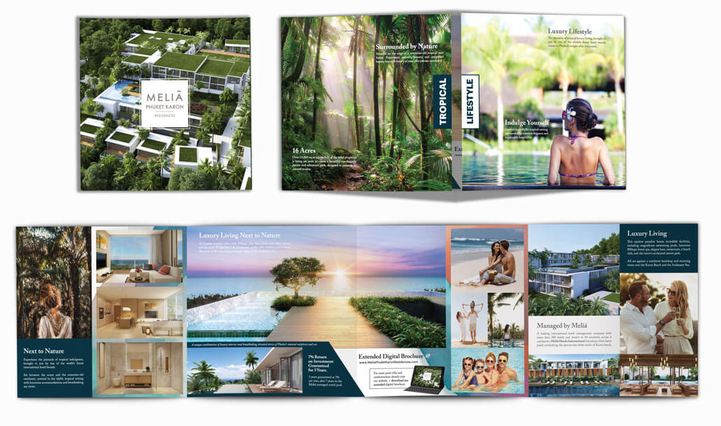 Milia Phuket Karon Brochure. A square closed gate fold design for a new property development